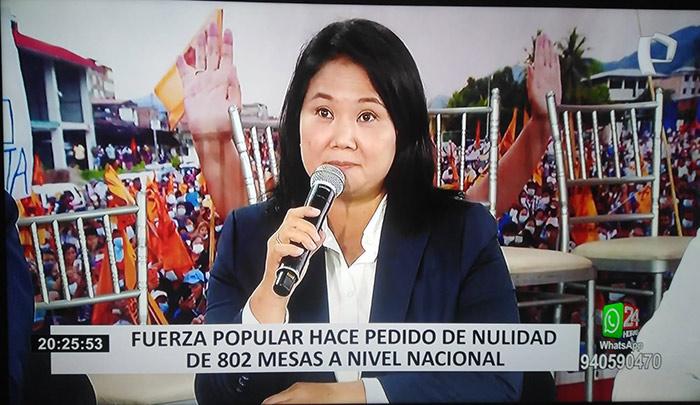Keiko Fujimori desesperada ahora busca nulidad de 802 mesas ante JNE a nivel nacional