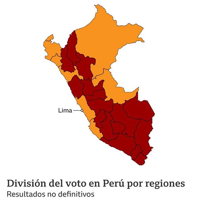 El mapa de la división del voto entre el