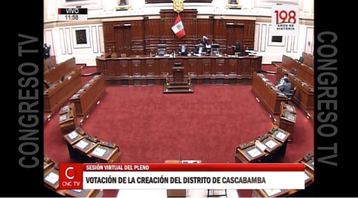 Pleno del Congreso aprobó por insistencia dictamen de ley que crea el nuevo distrito de Cascabamba