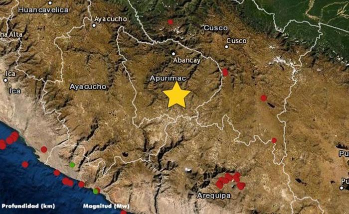 Sismo de magnitud 4 se registró en el distrito de Huaquirca, en Antabamba