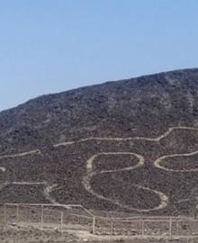 Ica: hallan nuevo geoglifo de felino en las Pampas de Nasca