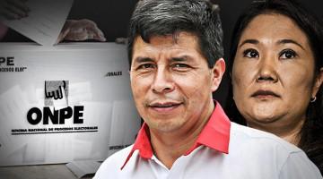 Castillo mantiene ligera ventaja sobre Fujimori al 100% de actas procesadas ONPE