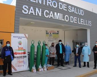 Municipaldad Provincial de Grau donó tres balones de oxígeno a Centro de Salud San Camilo de Lellis